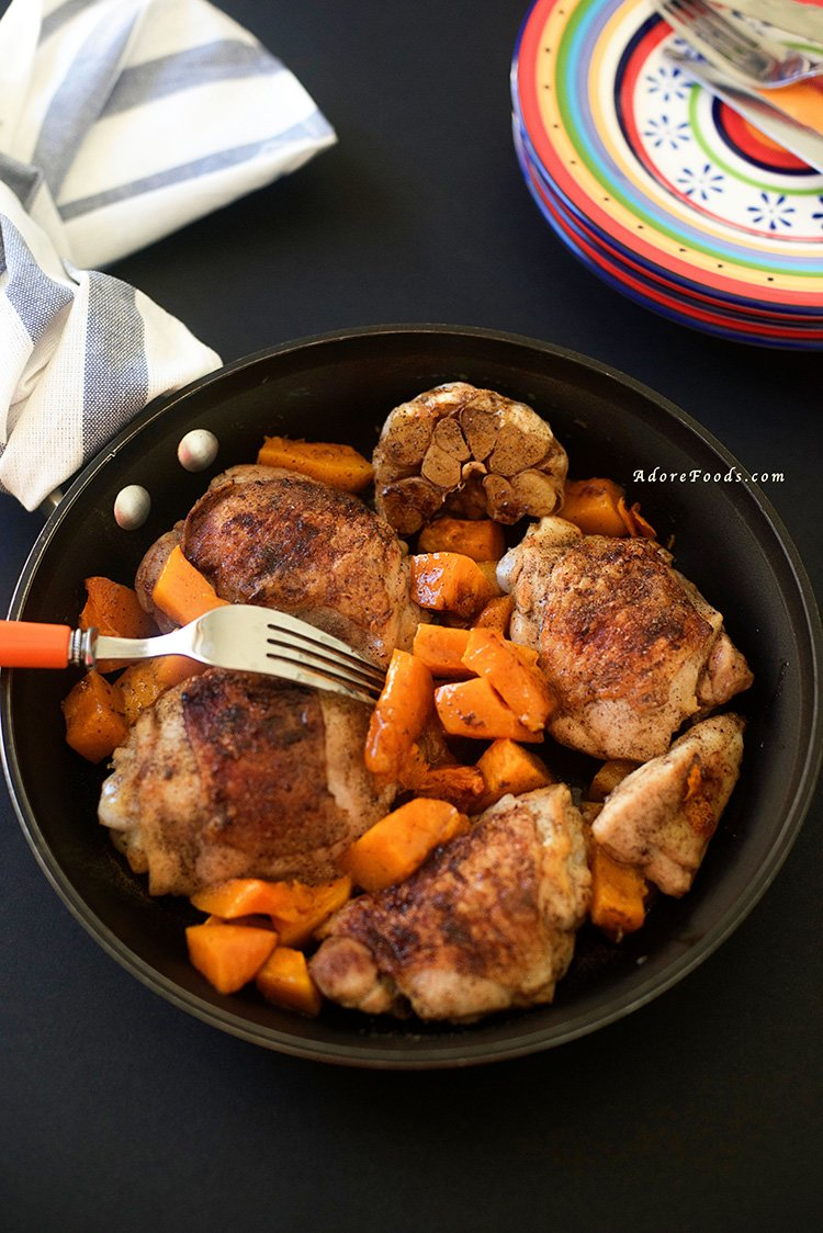 One Pan Roasted Chicken Thighs with Butternut Squash