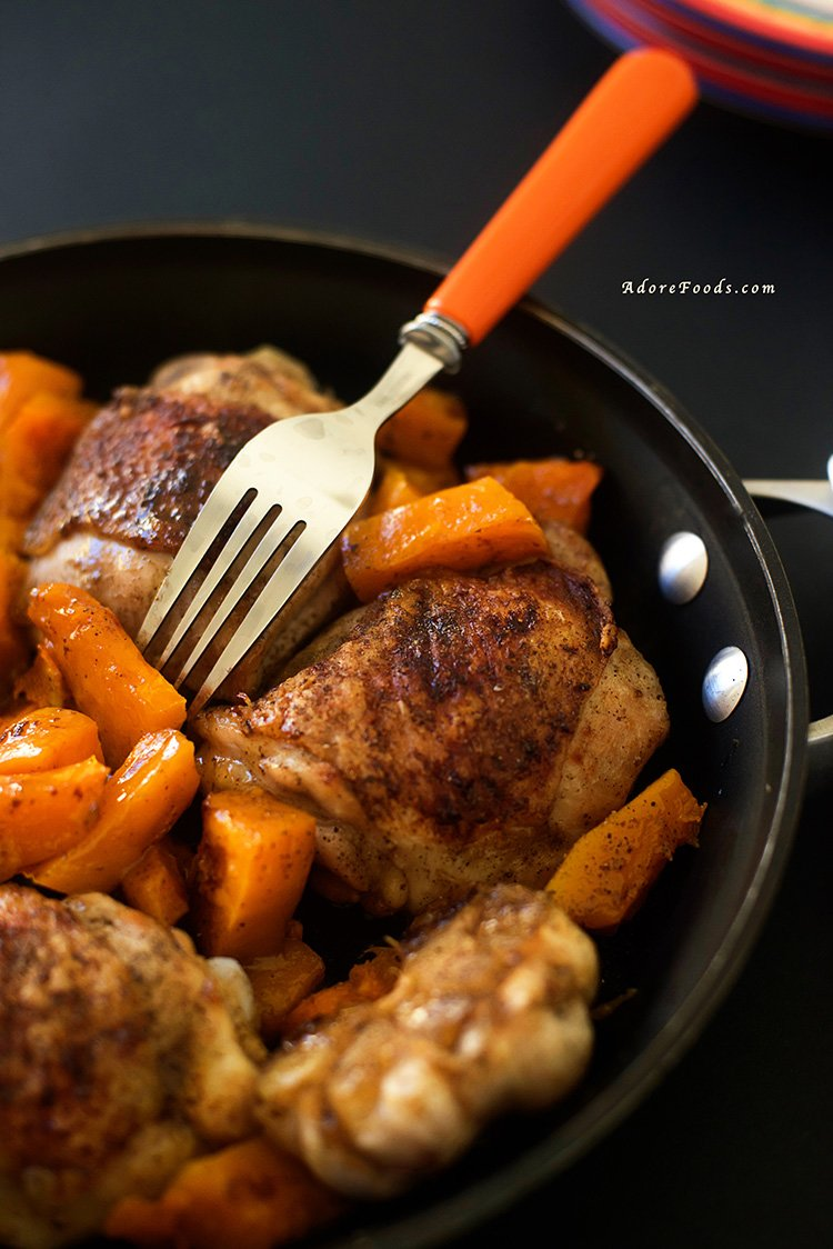 One Pan Roasted Chicken Thighs with Butternut Squash | Adore Foods