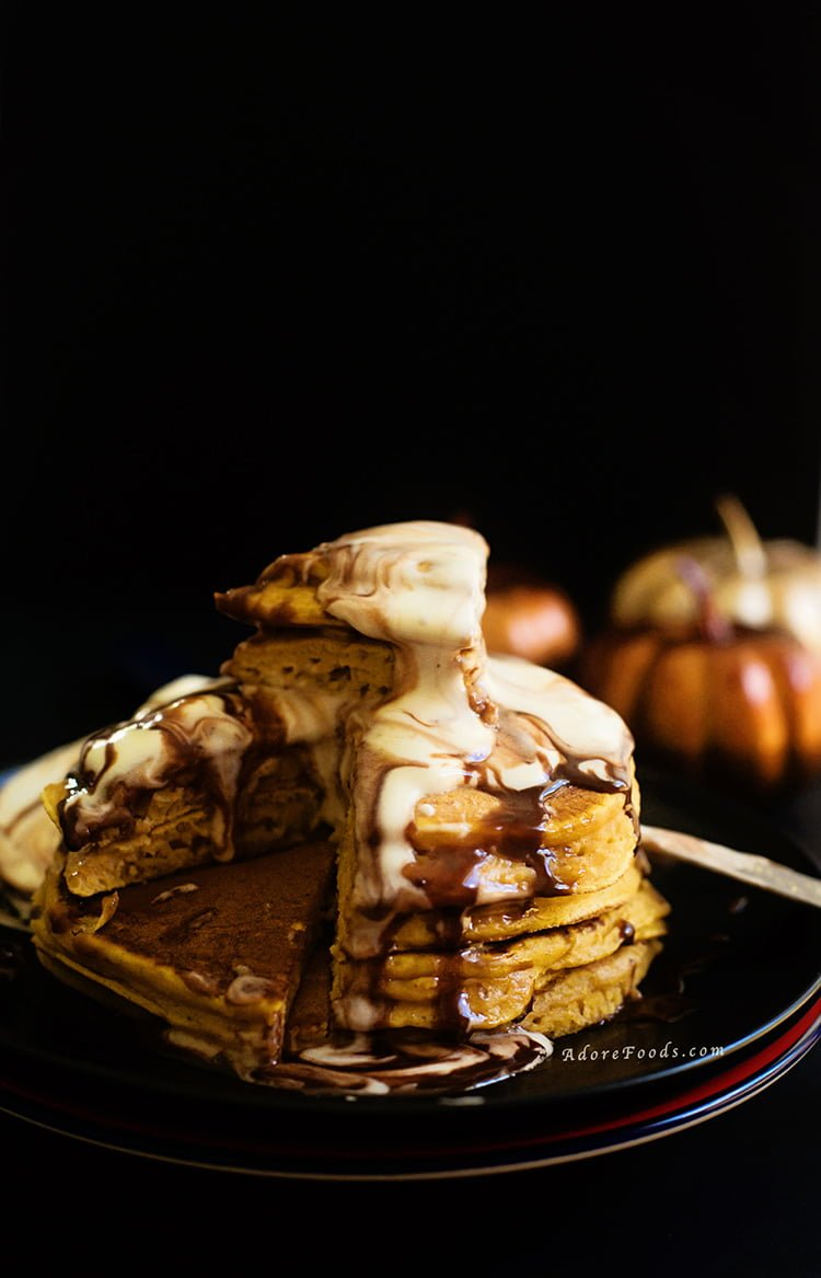 Fluffy Pumpkin Pancakes served with Vanilla Ice-cream and Nutella