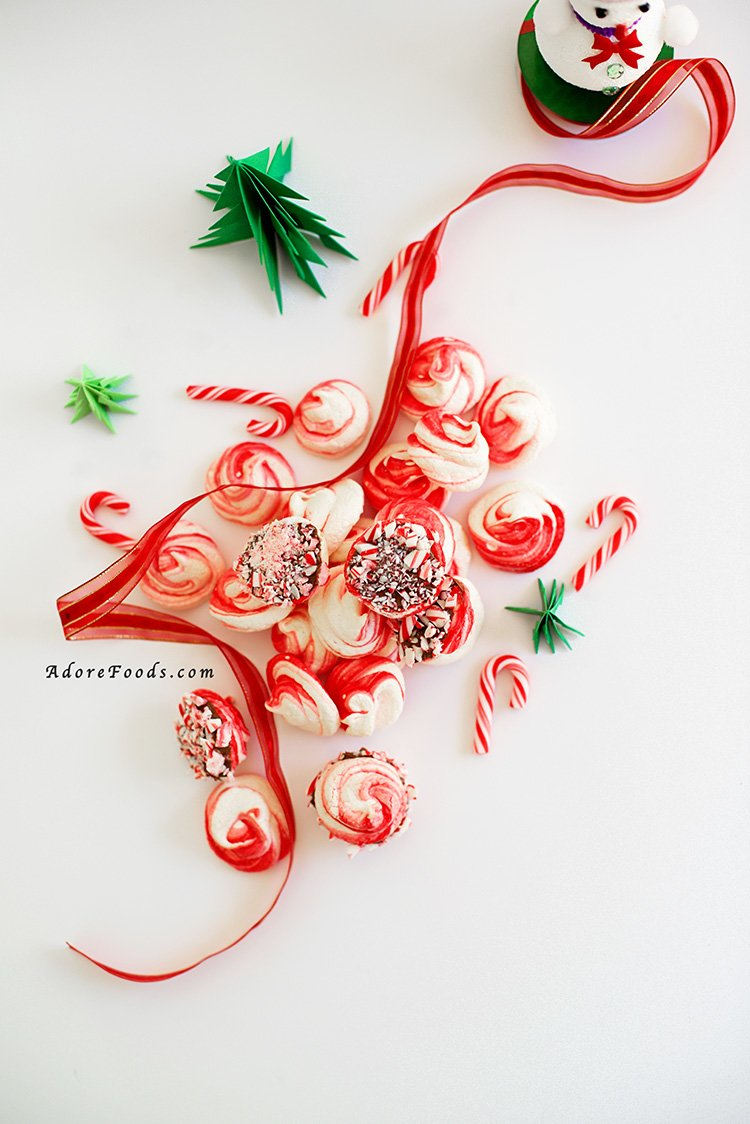 Chocolate Dipped Candy Cane Peppermint Meringue Recipe