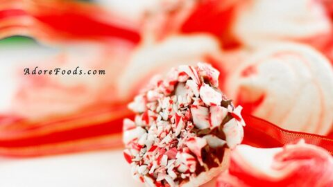 Peppermint Meringue Cookies with Candy Cane