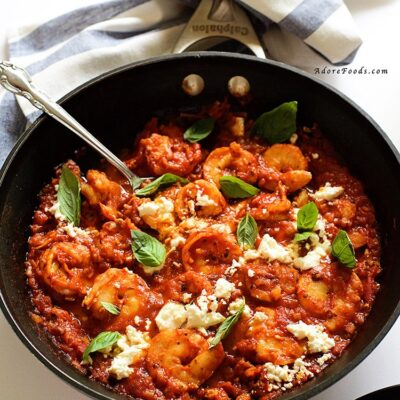 Pan Seared Shrimp in Tomato, Basil and Feta Sauce
