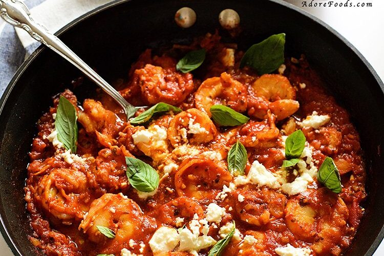 Easy, healthy and delicious dinner, Pan Seared Shrimp in Tomato, Basil and Feta Sauce ready in just 20 minutes!