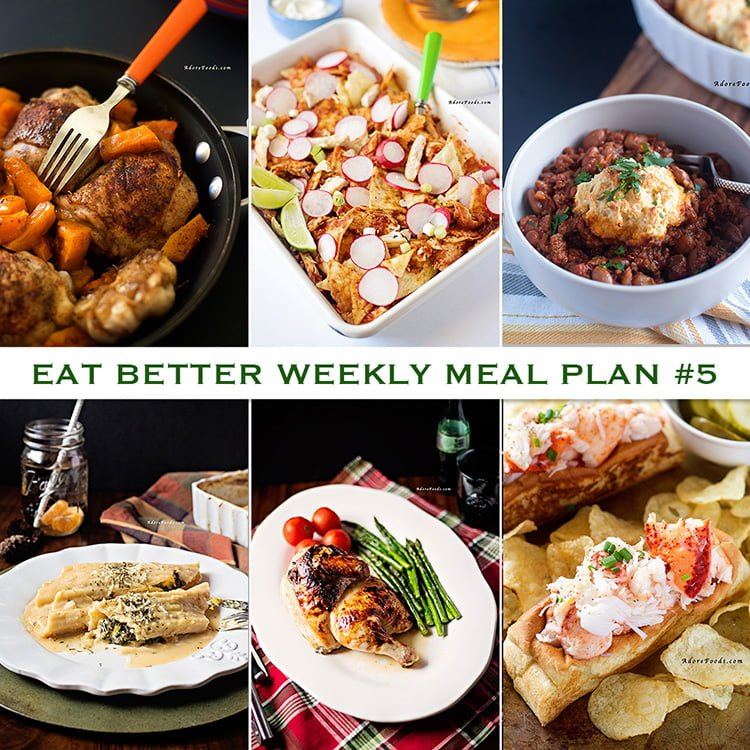 Eat Better Adore Foods weekly meal plan