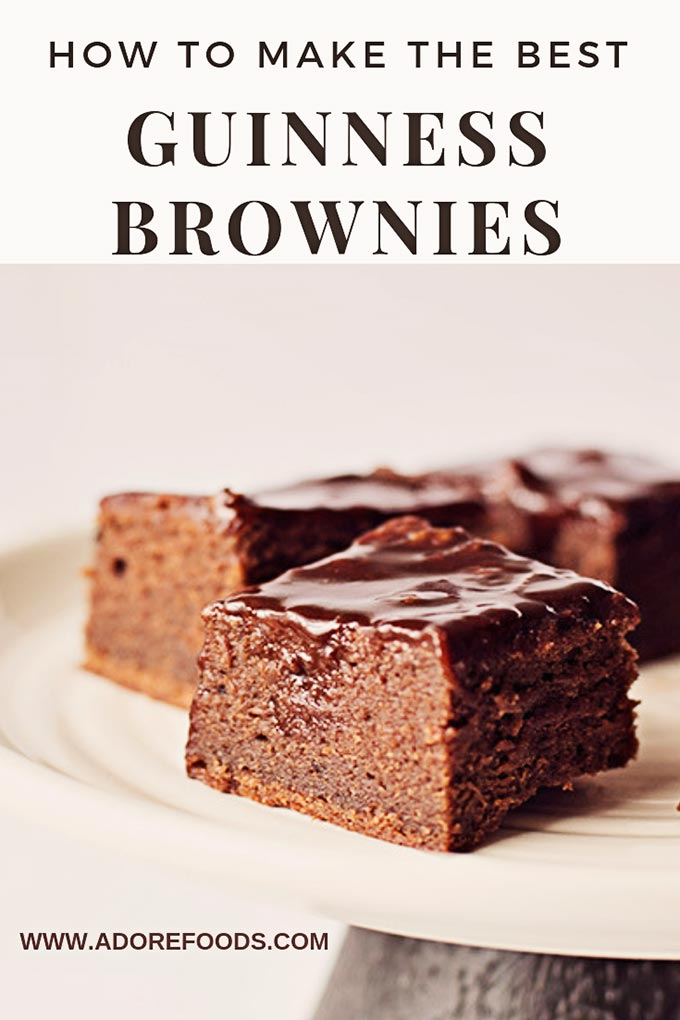 fudgy guinness brownies with chocolate ganache on top