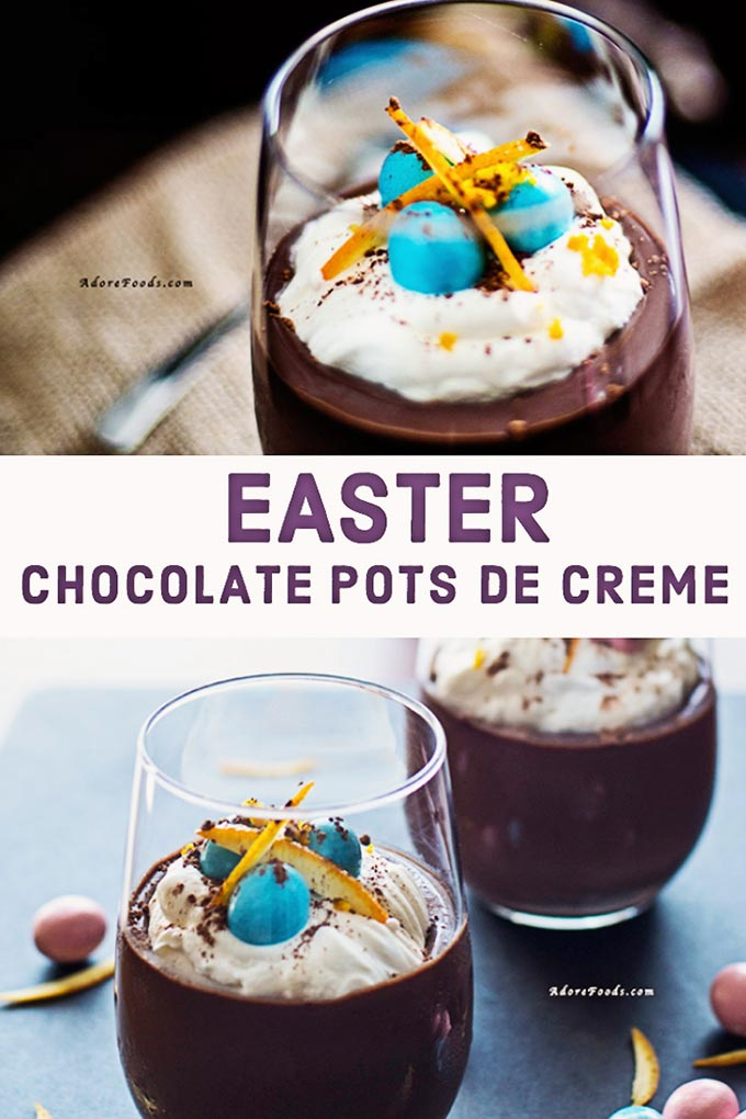 no bake chocolate pots de creme with Easter chocolate eggs on top