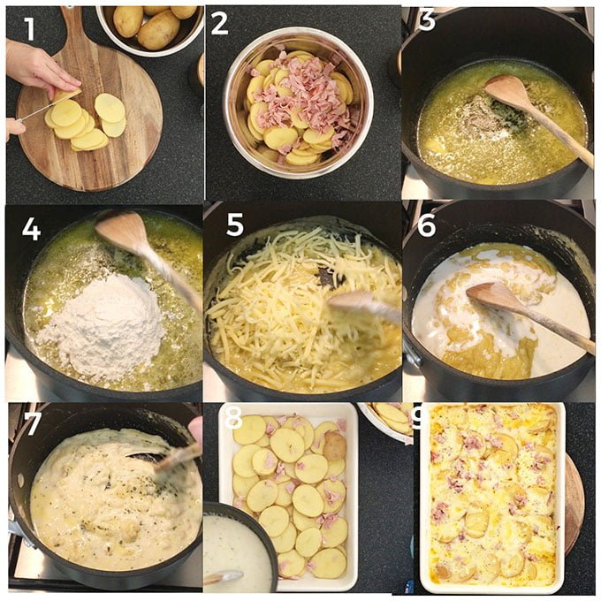 step by step photos on how to make scalloped potatoes and ham